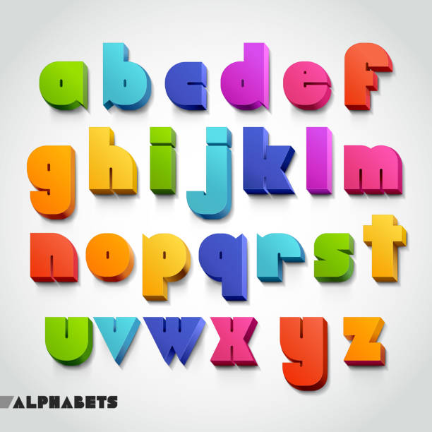 3d alphabet colorful font style. - kavramlar ve konular stock illustrations