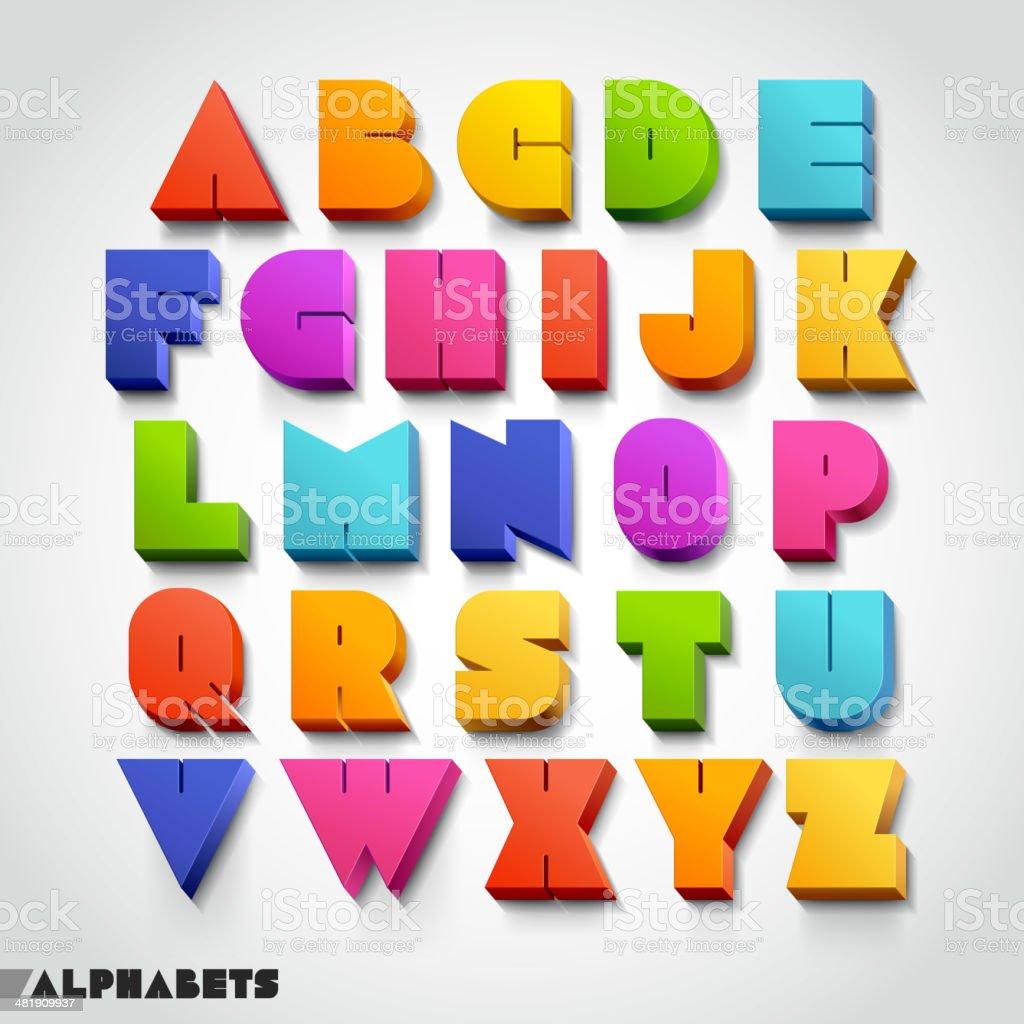 3 D alfabeto colorida fonte estilo. - ilustração de arte em vetor