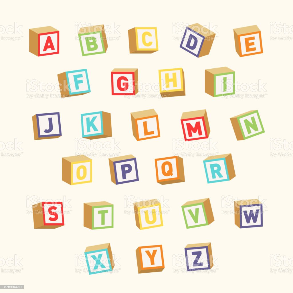 Alphabet. Colorful toy blocks, font for children education vector art illustration