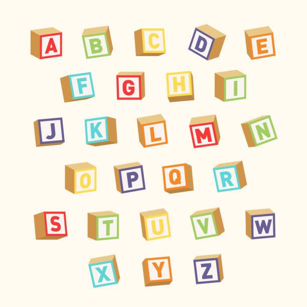 illustrations, cliparts, dessins animés et icônes de alphabet. blocs de jouets colorés, polices pour l'éducation des enfants - cube