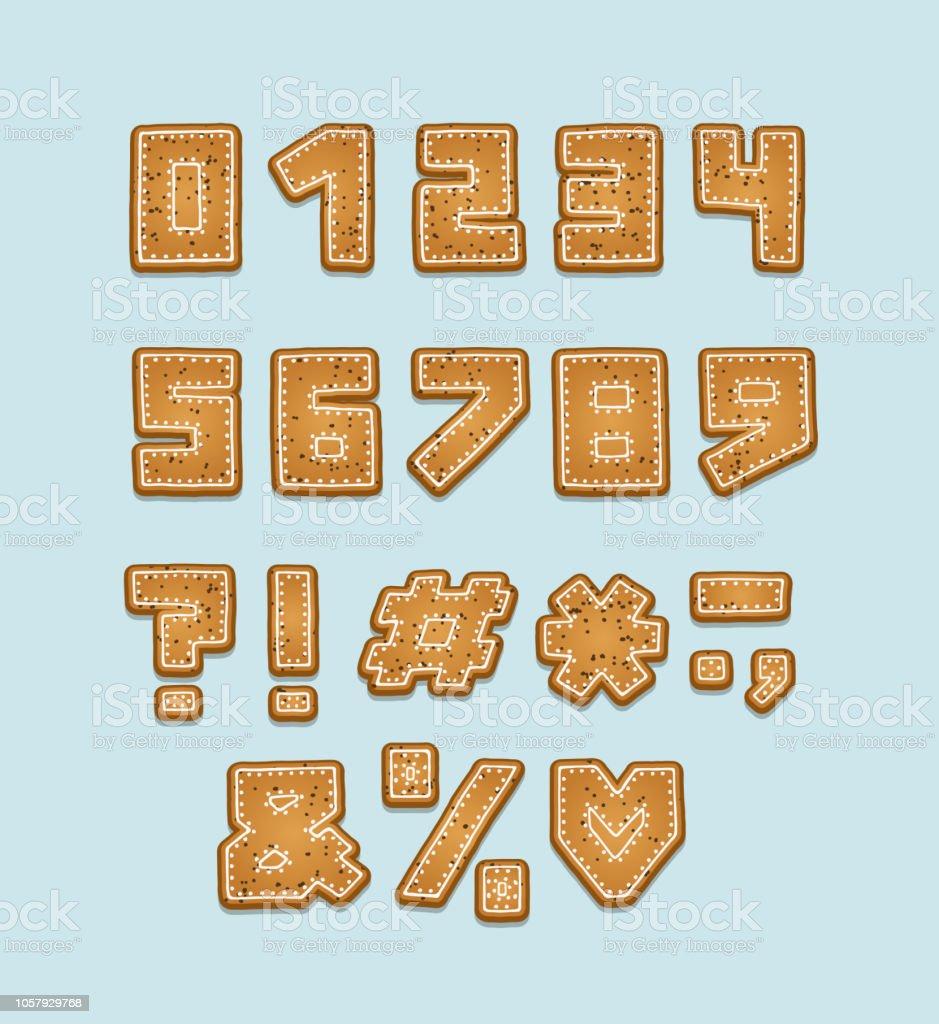 アルファベットのクッキーのデザイン数字と句読点太字のフォントクリップ