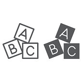 istock Alphabet cubes line and glyph icon, abc and toy, block sign, vector graphics, a linear pattern on a white background. 1044123532