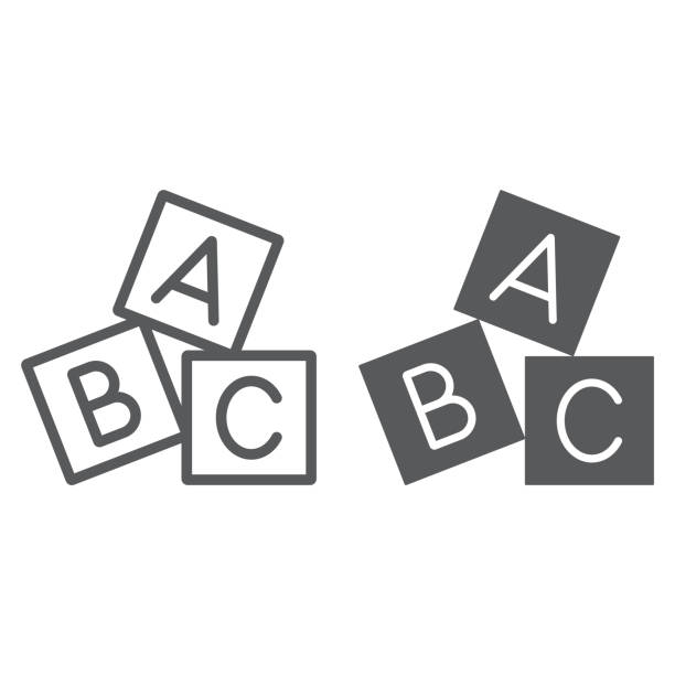 alphabet cubes line and glyph icon, abc and toy, block sign, vector graphics, a linear pattern on a white background. - alphabet icons stock illustrations