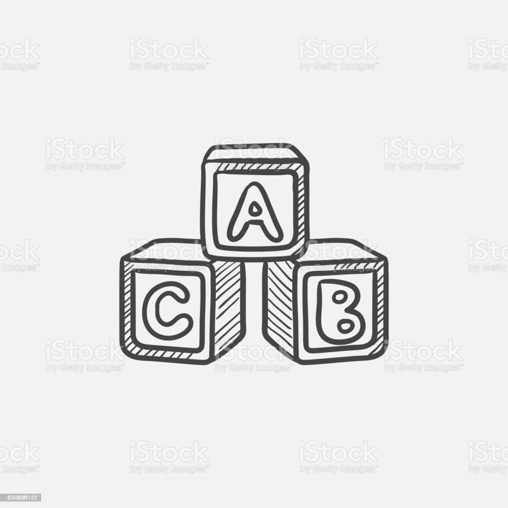 Alphabet cubes sketch icon vector art illustration