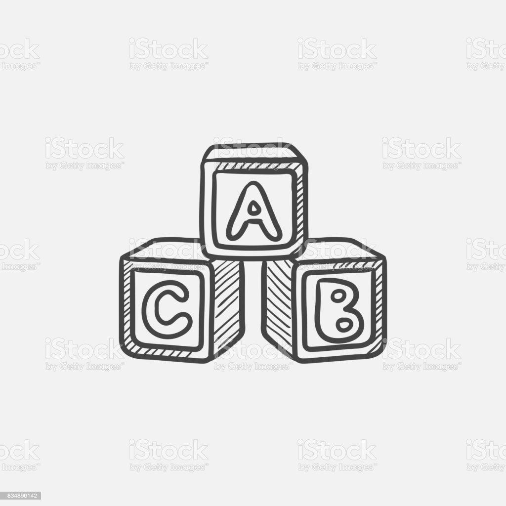 Cubos del alfabeto del bosquejo icono - ilustración de arte vectorial