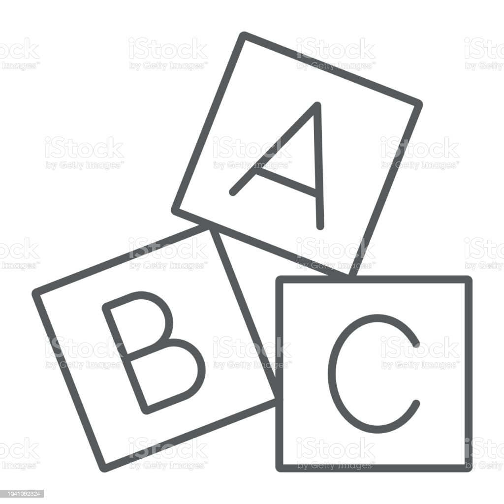 Alphabet cubes thin line icon, abc and toy, block sign, vector graphics, a linear pattern on a white background.