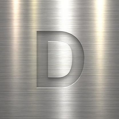 Alphabet D Design - Letter on Metal Texture Background