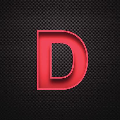 Alphabet D Design - Red Letter on Carbon Fiber Background