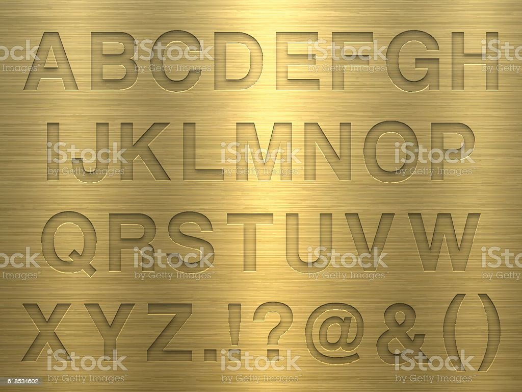 Alphabet Design - Letters on Gold Metal Texture vector art illustration