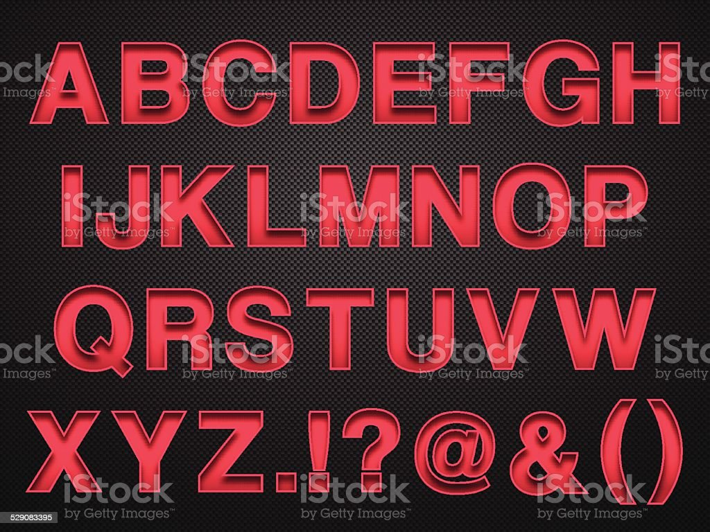 Alphabet Design - Red Letters on Carbon Fiber Background vector art illustration