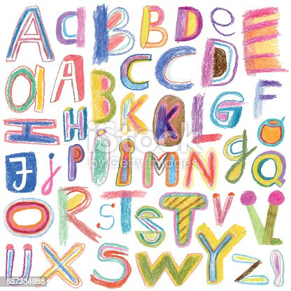 Alphabet drawn with crayons. Vector file