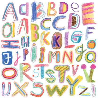Alphabet drawn with crayons
