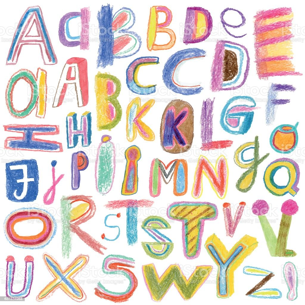 Alphabet drawn with crayons vector art illustration