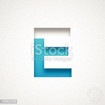 Alphabet E Design - Blue Letter on Watercolor Paper