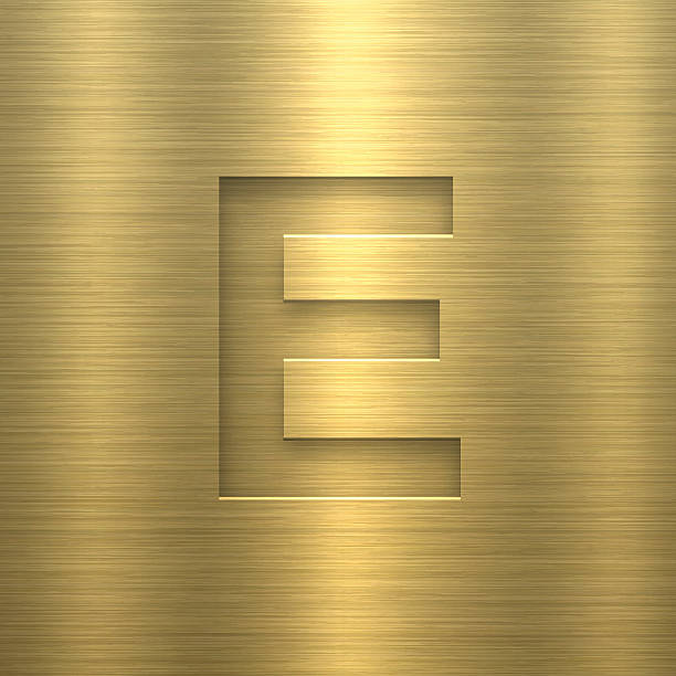 alphabet e design letter on gold metal texture vector art illustration