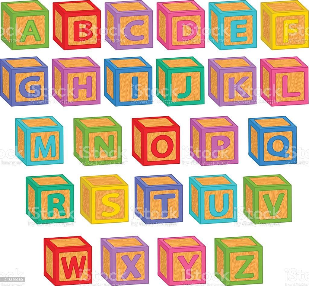 alphabet english blocks - ilustración de arte vectorial