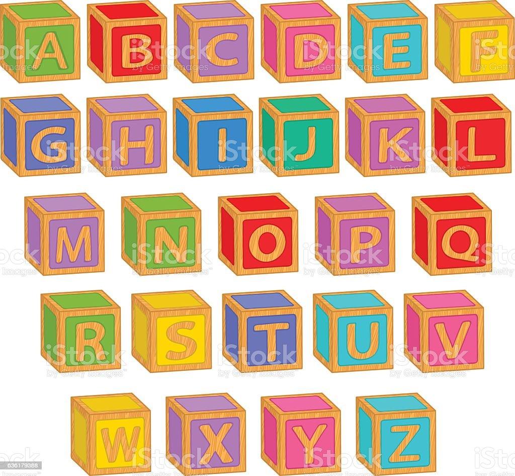 alphabet english colorful blocks - ilustración de arte vectorial