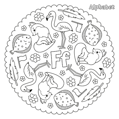 Alphabet F letter coloring page mandala with fox, flower, feather, flounder, flamingo, flag. Vector Illustration.