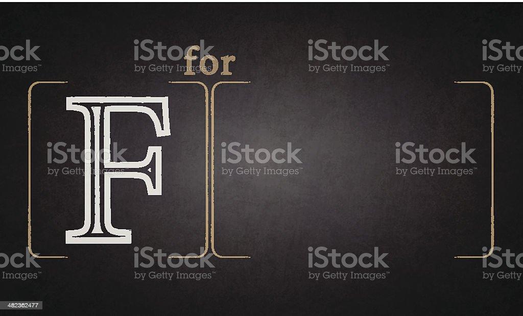 Alphabet - F on blackboard royalty-free stock vector art