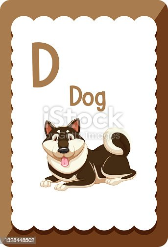 istock Alphabet flashcard with letter D for Dog 1328448502