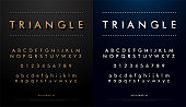 alphabet font from triangle concept. Technology alphabet golden and silver metallic and effect