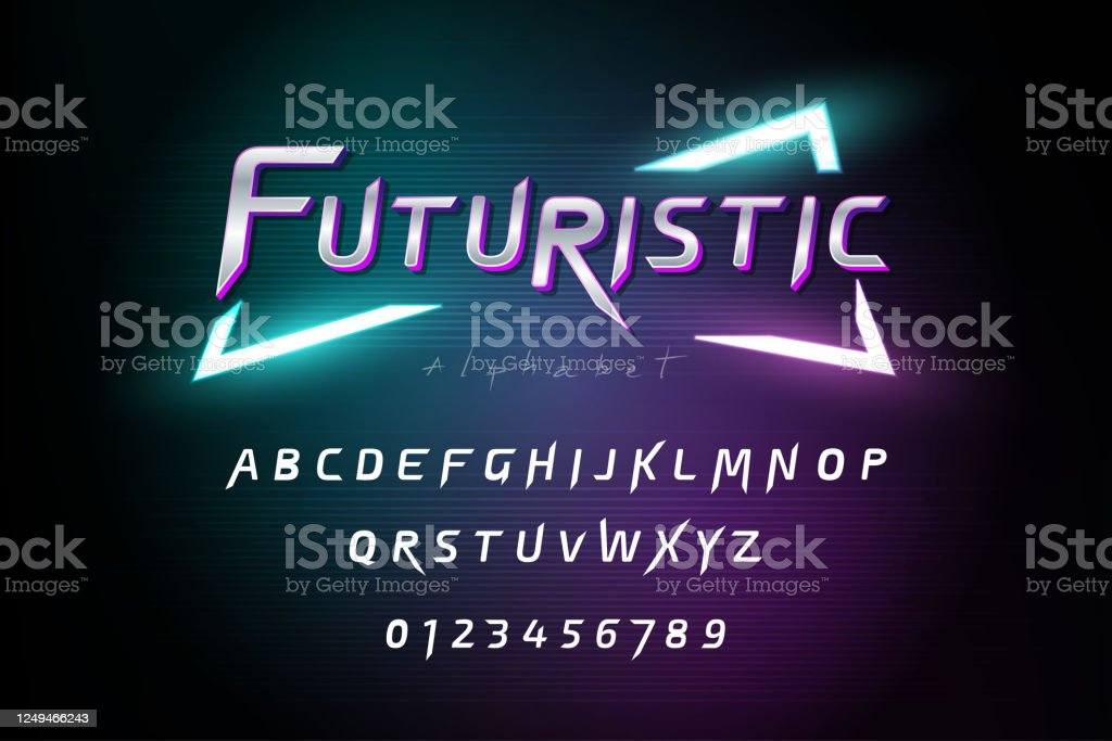 Alphabet Font Set With Numbers On Dark Futuristic Cyberpunk Background Stock Illustration Download Image Now Istock