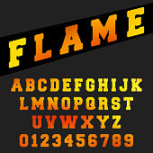 Alphabet font template. Set of letters and numbers flame design. Vector illustration.