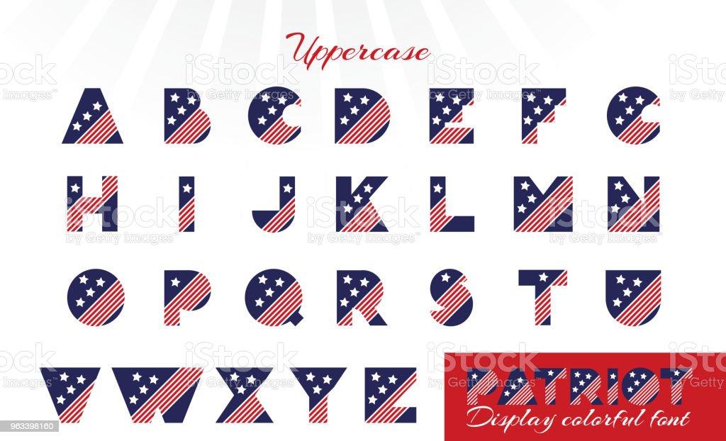 Alfabetet för firandet design 4: e juli i vintage stil på vit bakgrund med text. - Royaltyfri Alfabet vektorgrafik