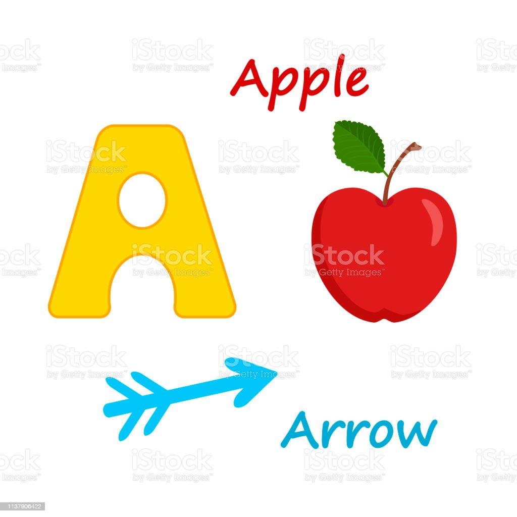 Vector illustration of Alphabet for education preschool kids with...
