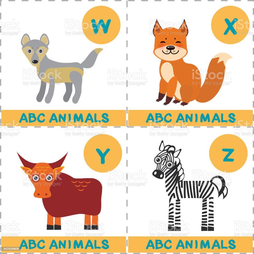 Ilustración de Alfabeto De Abc Para Niños Conjunto De Lobo Divertido ...