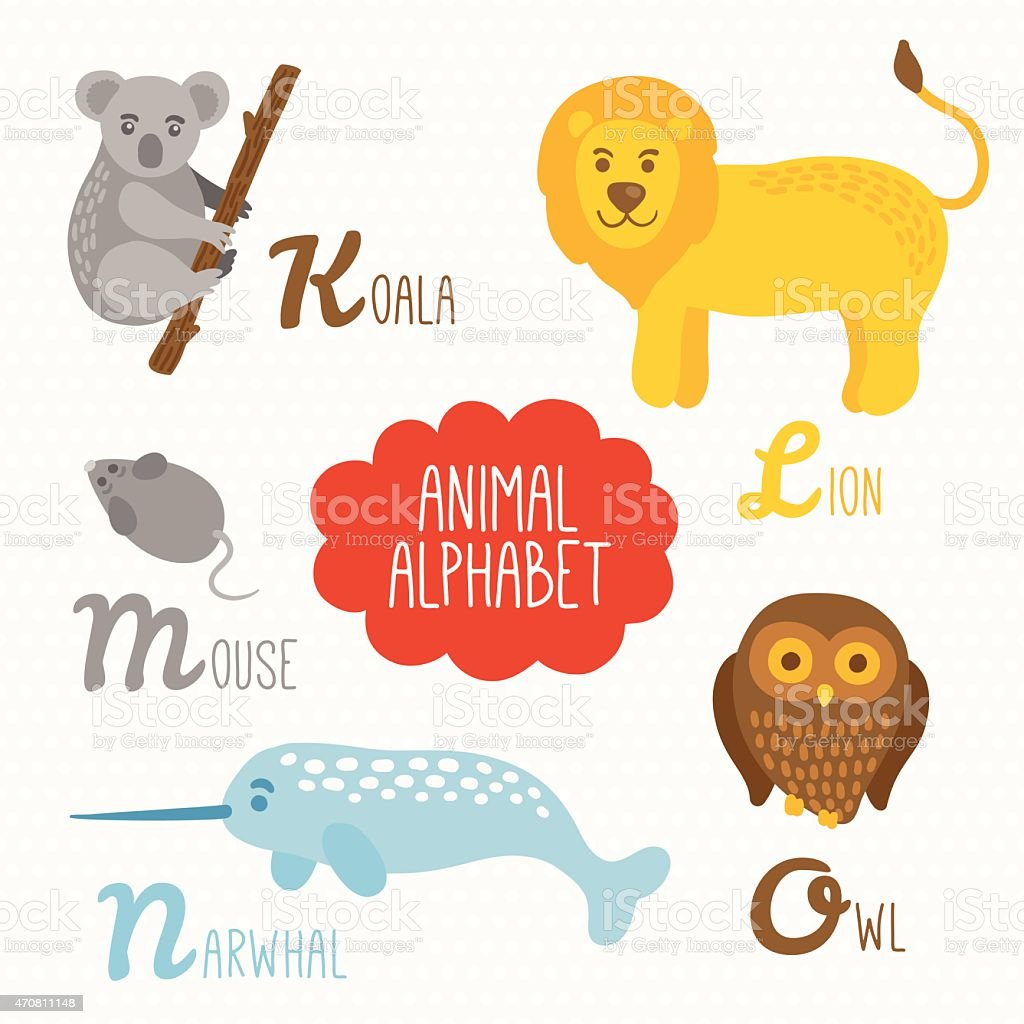 alphabet for kids with animals koala lion mouse narwhal owl stock