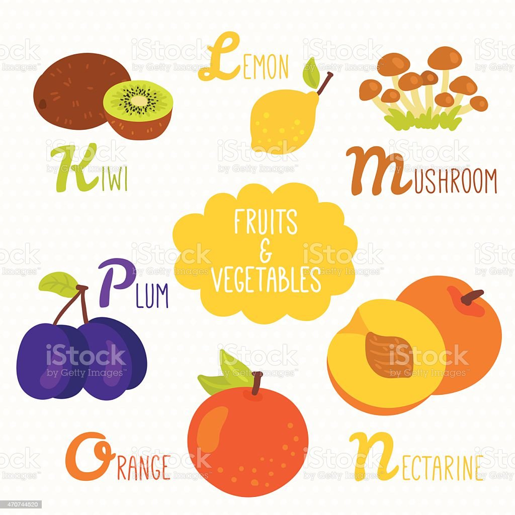 Alphabet for kids with fruits and vegetables vector art illustration