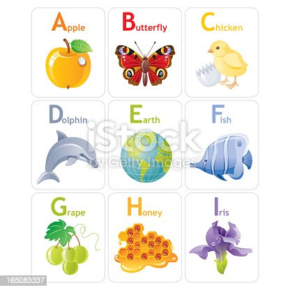 Colorful Alphabet from A to I. Zip contains AI CS, JPG, CDR-11.