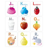 Colorful Alphabet from J to R. Zip contains AI CS, JPG, CDR-11.