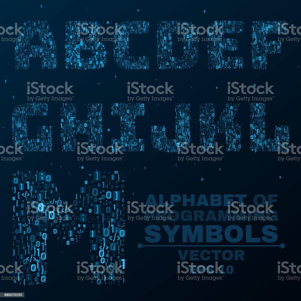 Alphabet from the symbols of the program code programming in alphabet from the symbols of the program code programming in design glowing letters are buycottarizona Choice Image