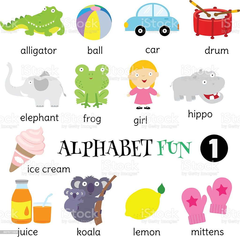 Alphabet fun 1 vector art illustration