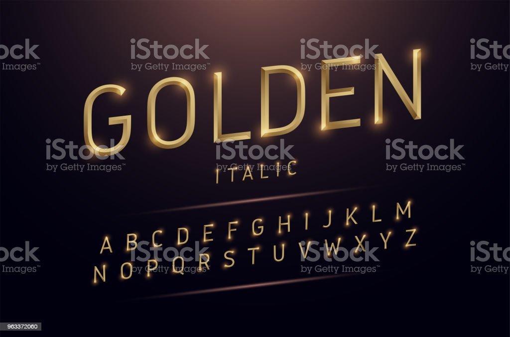 Alphabet gold metallic and effect designs. Exclusive golden letters typography italic font digital, technology and sport concept. vector illustrator - Grafika wektorowa royalty-free (Abstrakcja)