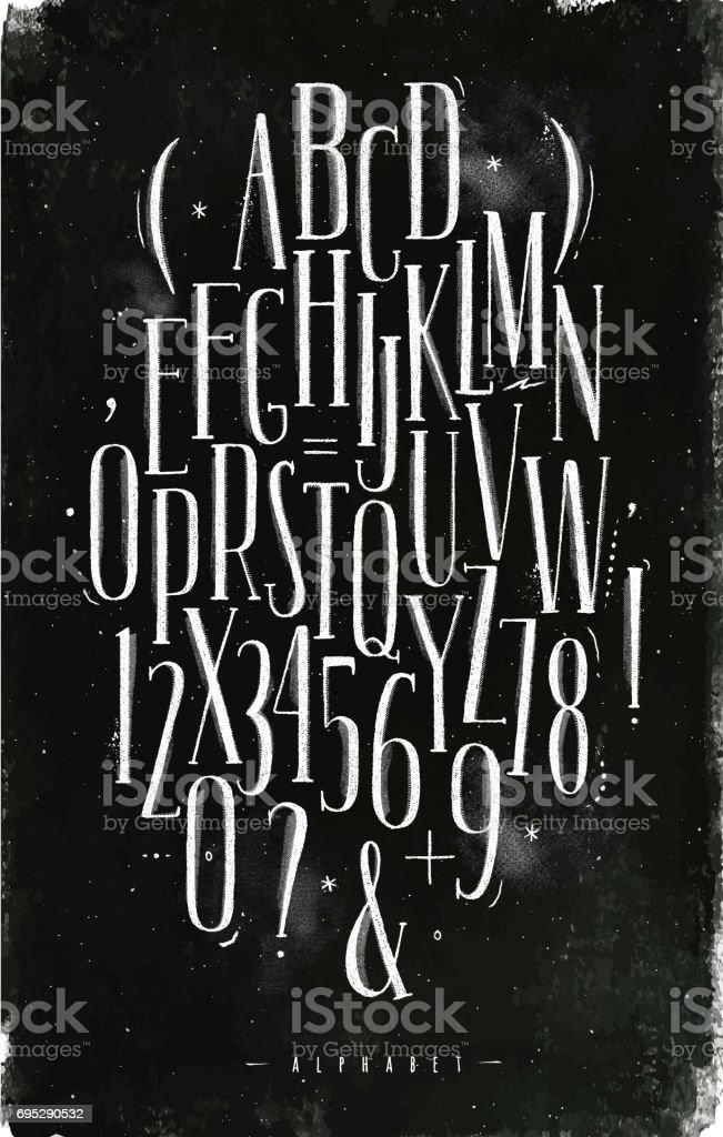 Alphabet gotische Schrift Kreide – Vektorgrafik