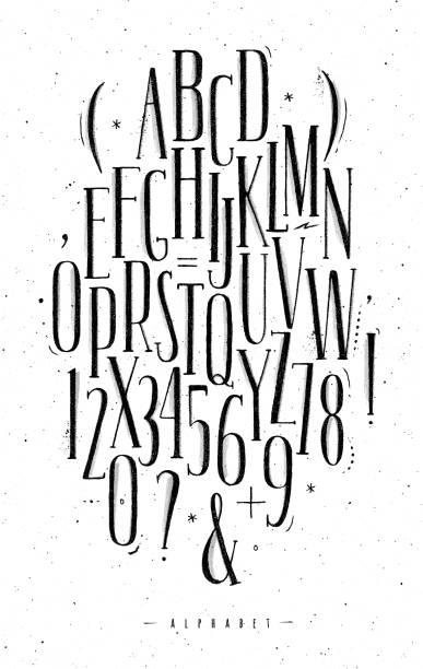 ilustraciones, imágenes clip art, dibujos animados e iconos de stock de fuente gótica alfabeto - tipos de letra y tipografía