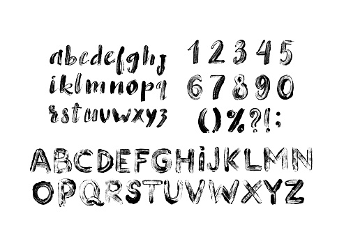 Alphabet grunge letters collection. Vector grunge textured font with numbers, lowercase and uppercase letters.