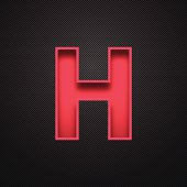 Alphabet H Design - Red Letter on Carbon Fiber Background