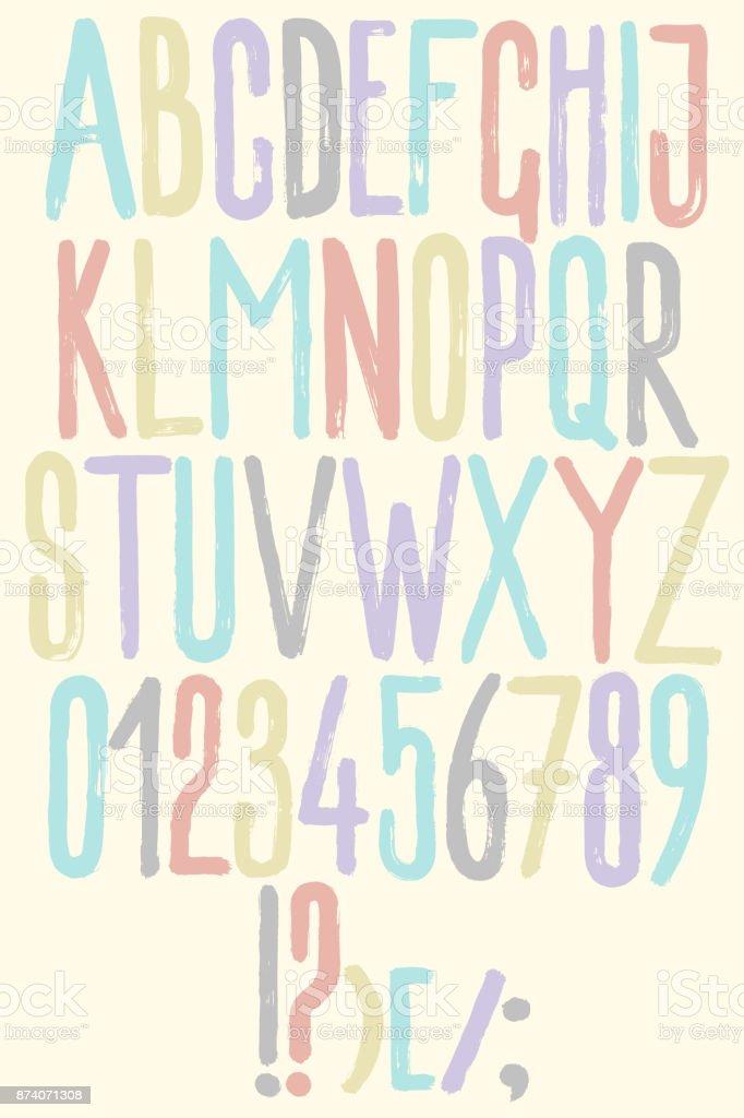 Alphabet Handgezeichnete Grafik Farbe Pinsel Textur Buchstaben Und ...