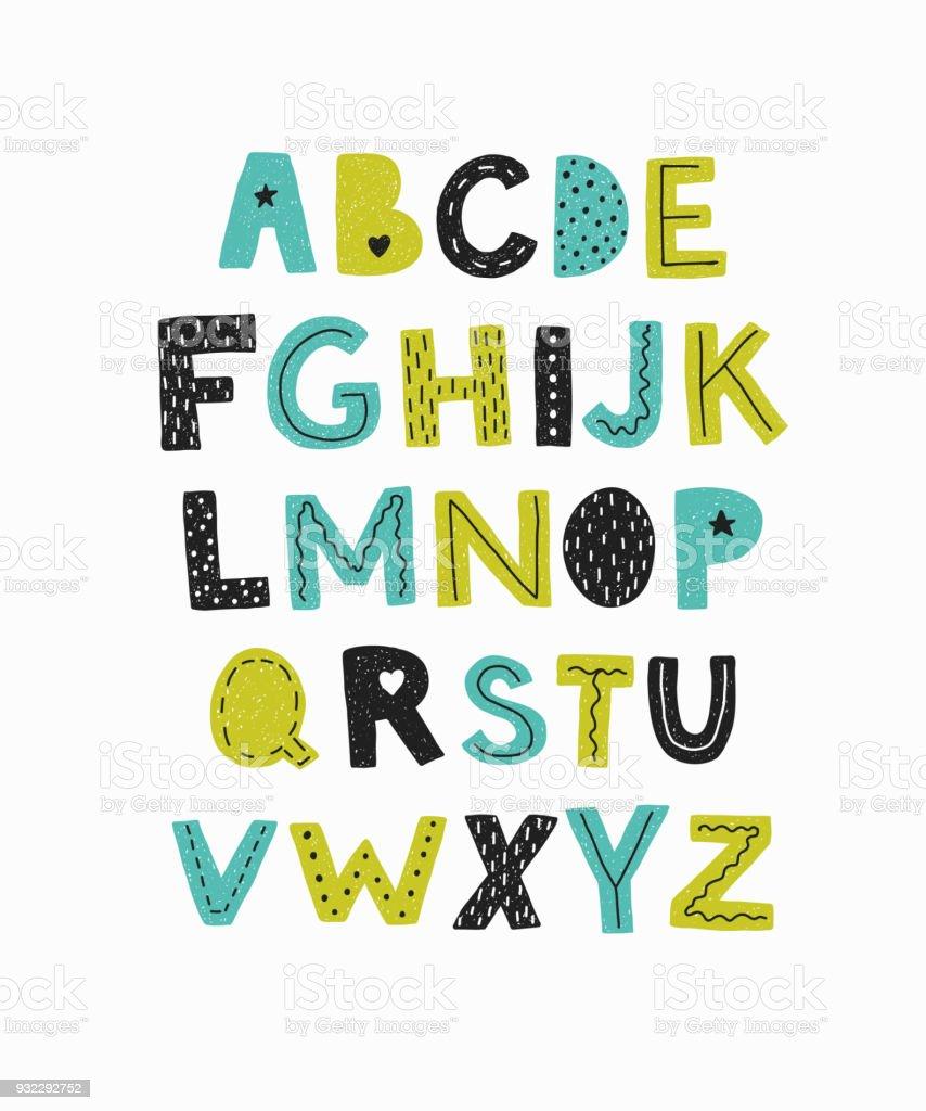 Alphabet. Lettres dessinées de main isolés. - Illustration vectorielle