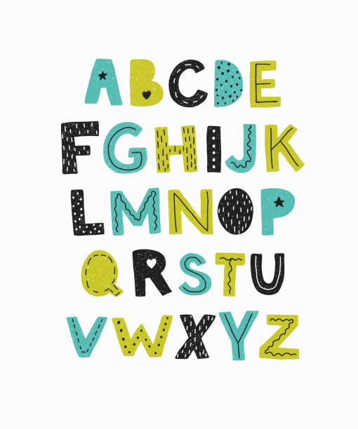 alphabet. hand drawn letters isolated. - alphabet drawings stock illustrations
