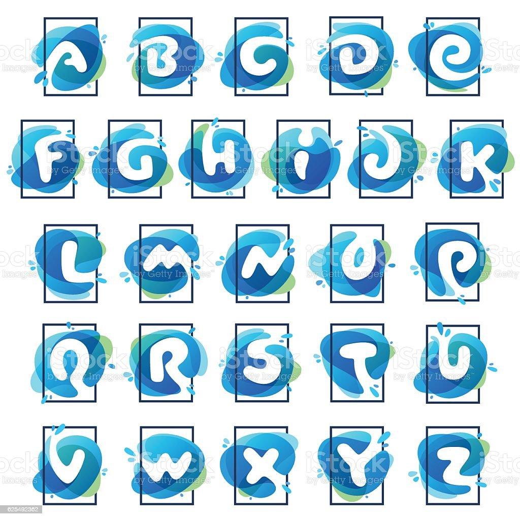 Alphabet icons in square frame at blue watercolor splash vector art illustration