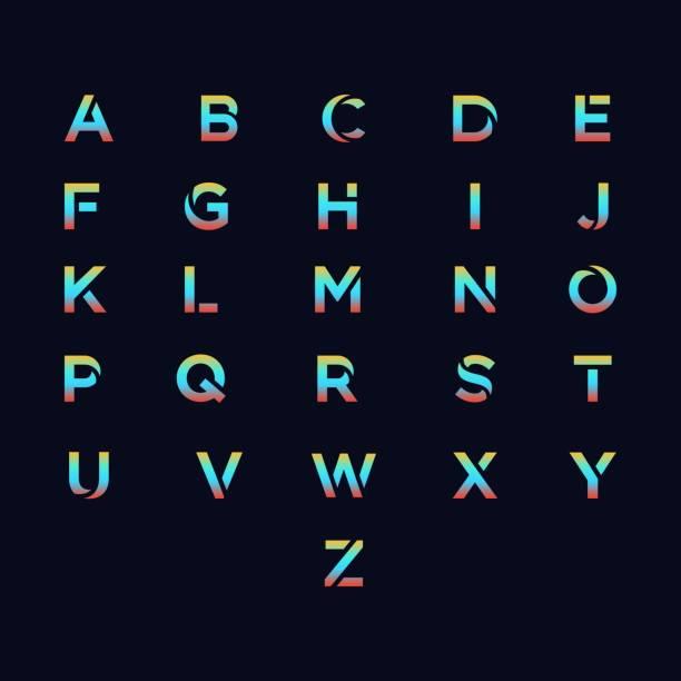 illustrazioni stock, clip art, cartoni animati e icone di tendenza di modello vettoriale illustrazione alfabeto - titolo mondiale