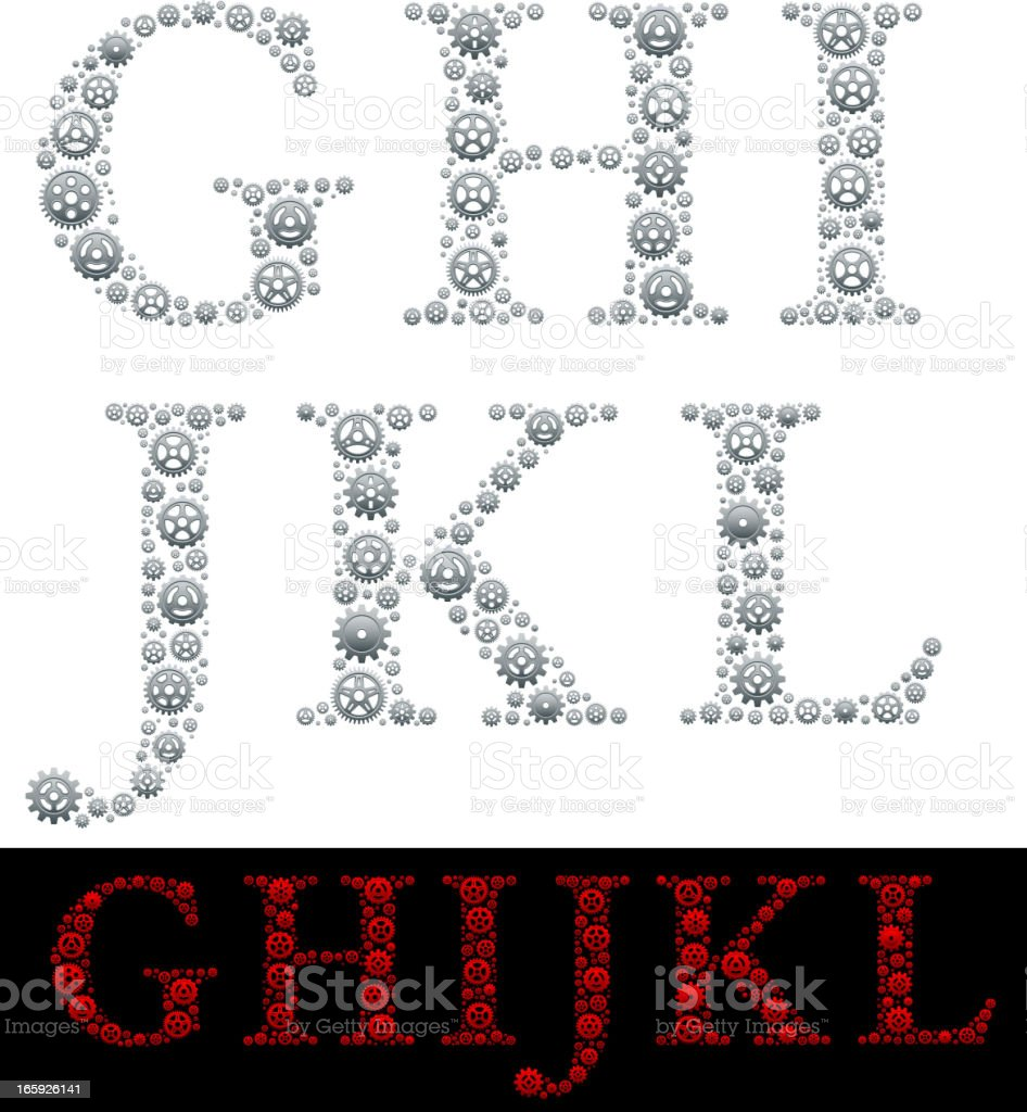 Alphabet in Gears: G-L royalty-free alphabet in gears gl stock vector art & more images of abstract