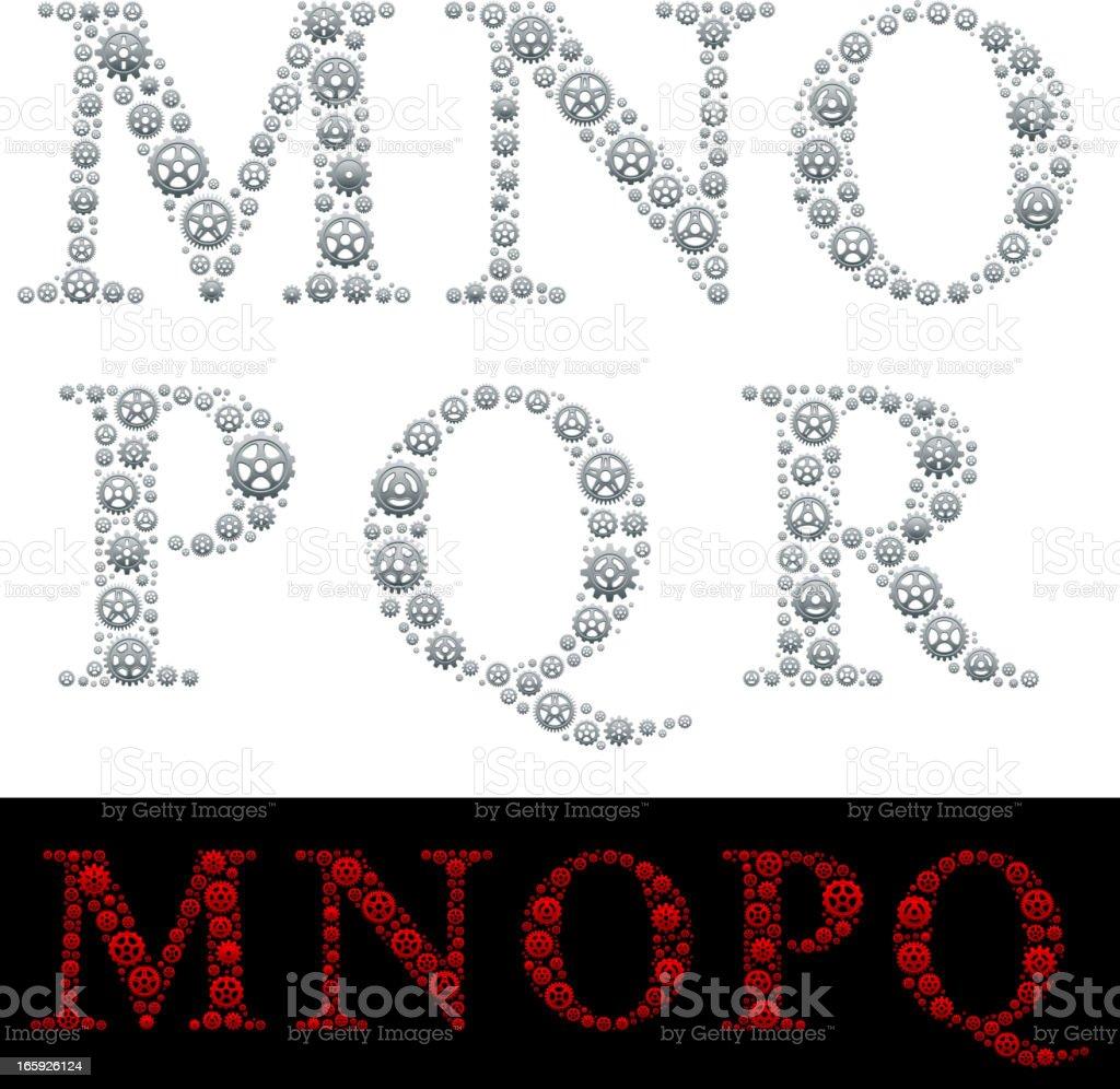 Alphabet in Gears: M-R royalty-free stock vector art