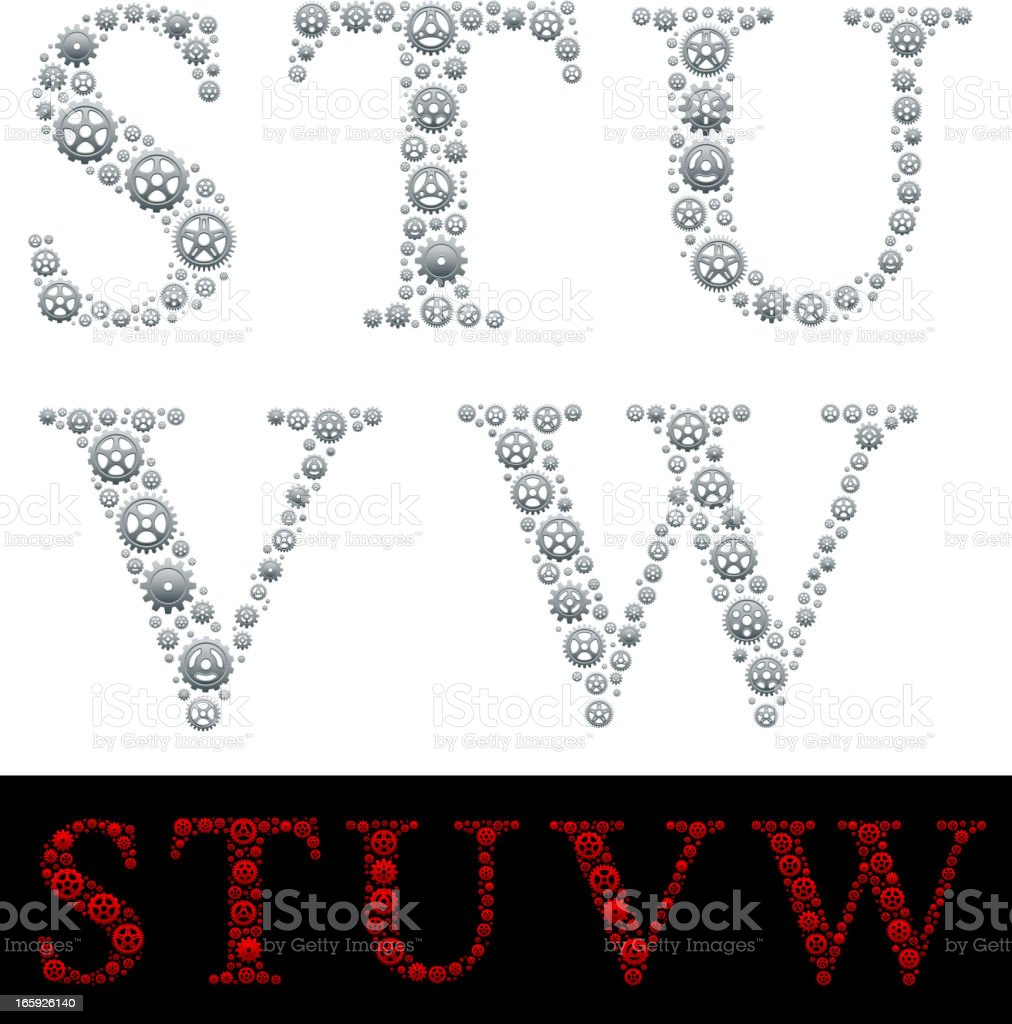 Alphabet in Gears: S-W royalty-free alphabet in gears sw stock vector art & more images of abstract