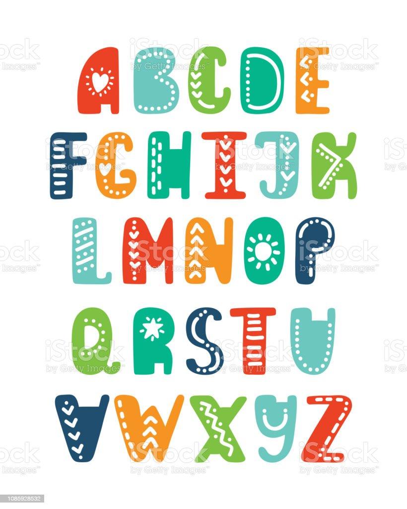 Vetores De Alfabeto Em Estilo Escandinavo Letras De Desenho